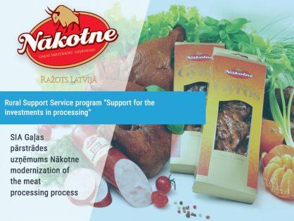 SIA Gaļas pārstrādes uzņēmums Nākotne modernization of the meat processing process