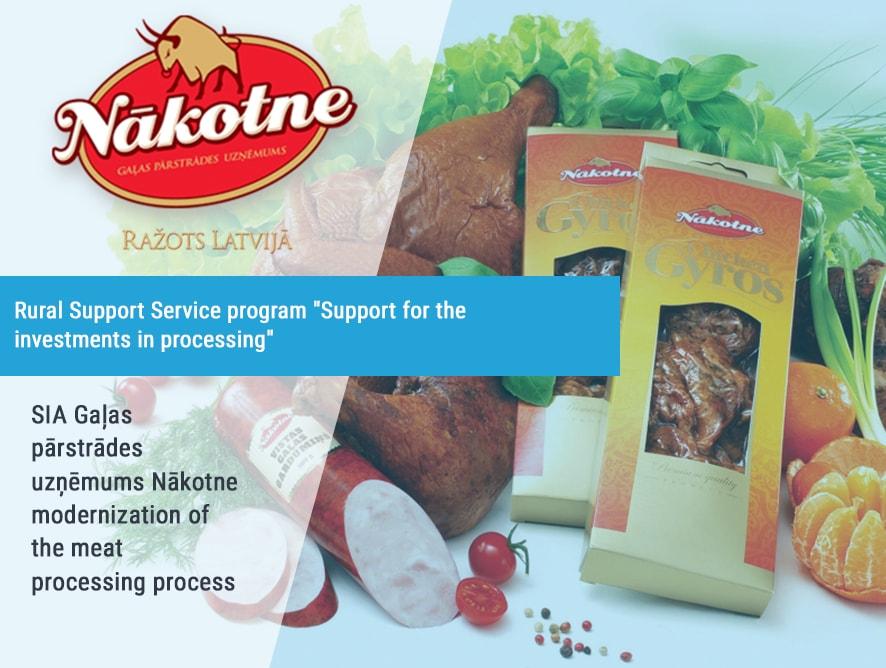 SIA Gaļas pārstrādes uzņēmums Nākote modernization of the meat processing